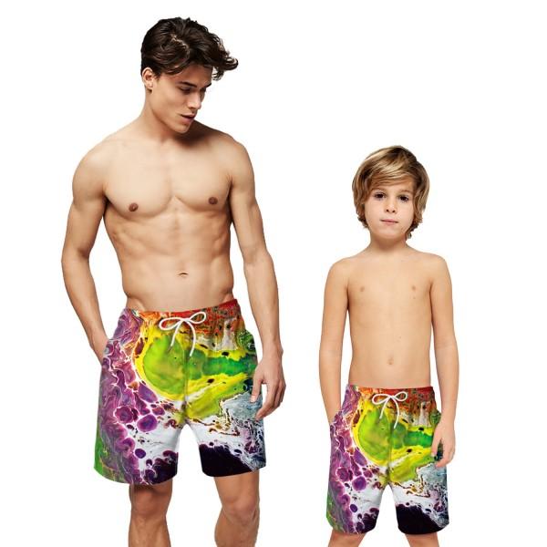 Colorful Sea Wave Swim Trunks Shorts 3D Beach Shorts For Men Boys