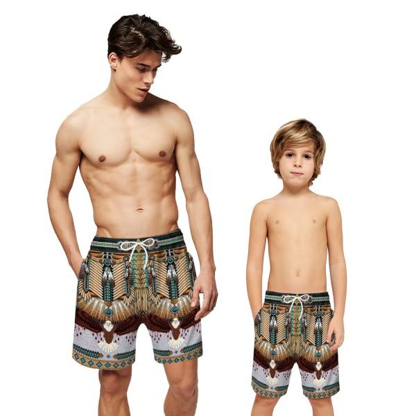 Native American Indian Swim Trunks Shorts 3D Beach Shorts For Men Boys