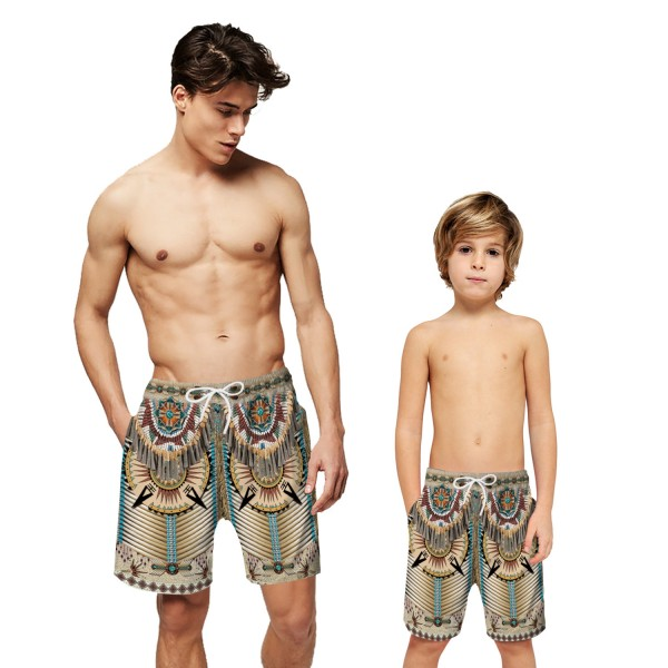 Native American Indian Swim Shorts Trunks 3D Beach Shorts For Men Boys