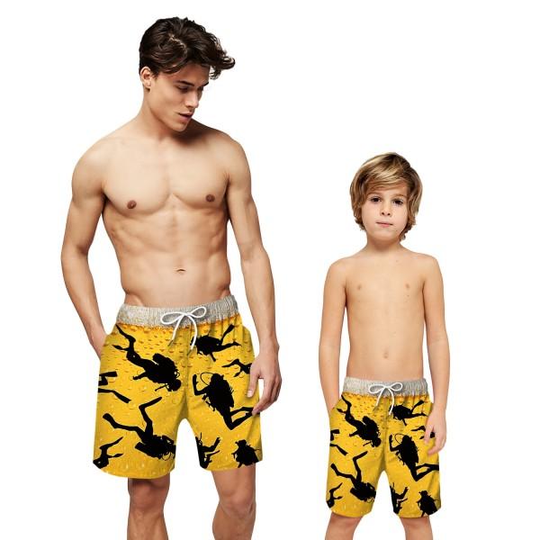 Diving Pattern Swim Trunks Shorts 3D Beach Shorts For Men Boys