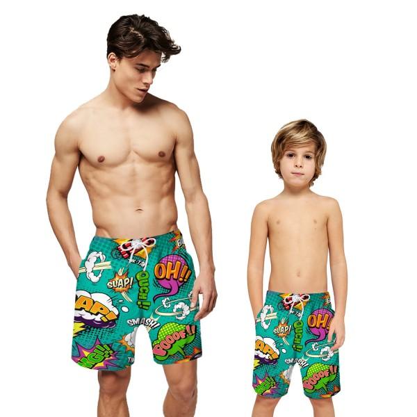 Green Letter Pattern Swim Trunks Shorts 3D Beach Shorts For Men Boys