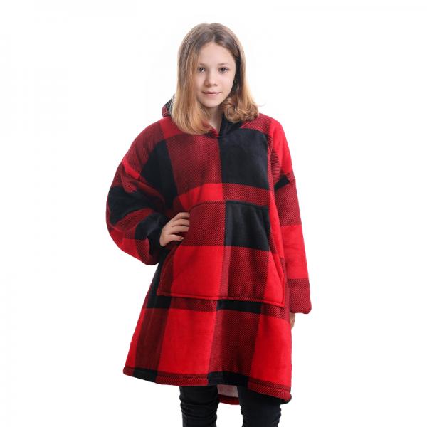 Comfort Blanket Hoodie for Kids Boys & Girls Oversized Blanket Sweatshirt Red Plaid