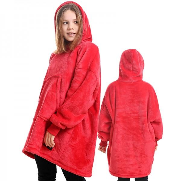 Red Blanket Hoodie for Kids Boys & Girls Oversized Blanket Sweatshirt