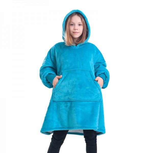 Blue Blanket Hoodie for Kids Boys & Girls Oversized Blanket Sweatshirt