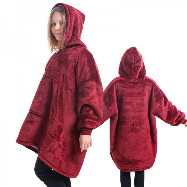 Blanket Hoodie for Kids Boys & Girls Oversized Blanket Sweatshirt Champagne Red