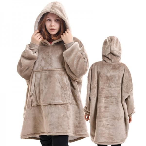 Blanket Hoodie for Kids Boys & Girls Oversized Blanket Sweatshirt Brown