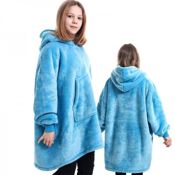 Blanket Hoodie for Kids Boys & Girls Oversized Blanket Sweatshirt Light Blue
