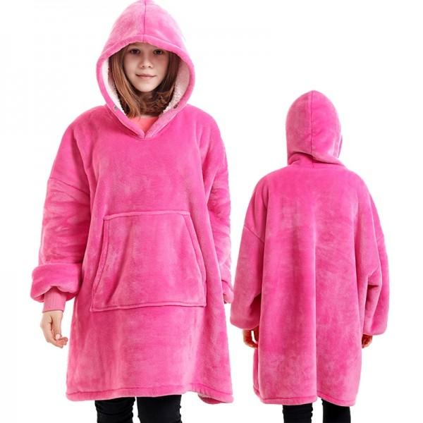 Sherpa Blanket Hoodie for Kids Boys & Girls Oversized Hoodie Blanket Sweatshirt Pink