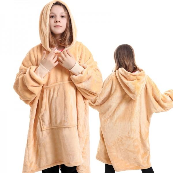 Girls Sherpa Blanket Hoodie Oversized Hoodie Blanket Sweatshirt for Kids Yellow