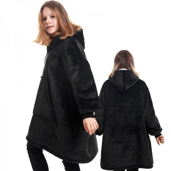 Kids Sherpa Blanket Hoodie Oversized Hoodie Blanket Sweatshirt Black