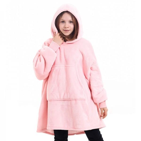Kids Sherpa Blanket Hoodie Oversized Hoodie Blanket Sweatshirt Pink