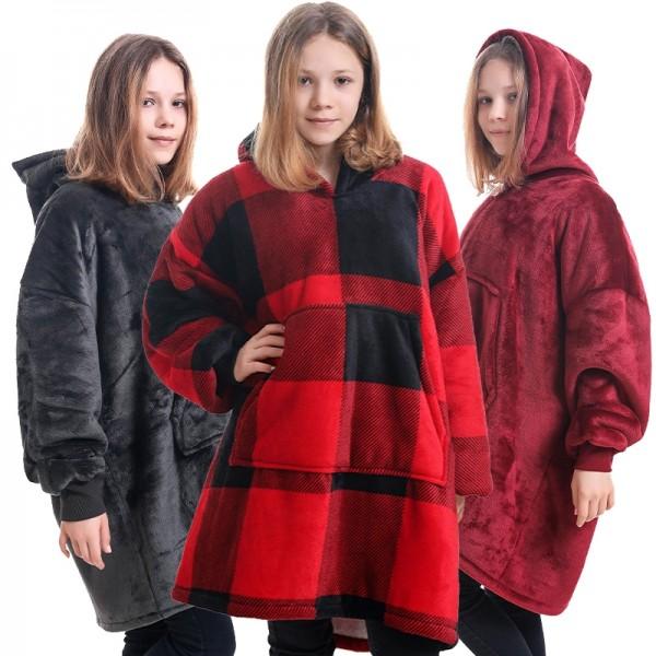 Kids Sherpa Blanket Hoodie Oversized Hoodie Blanket Sweatshirt