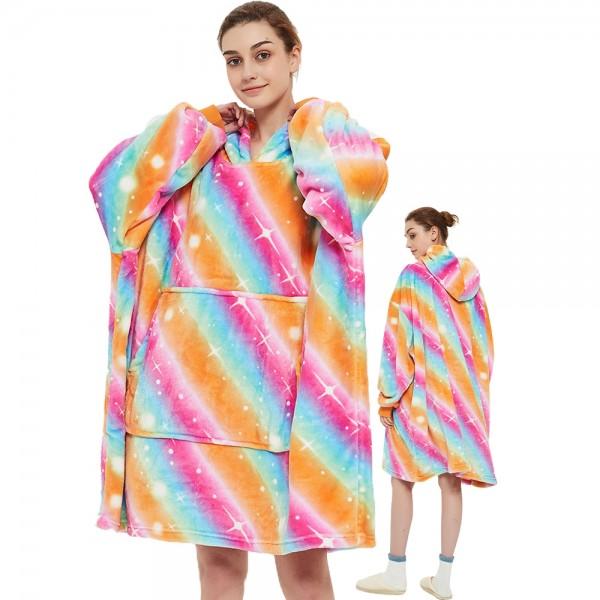 Blanket Hoodie Oversized Sweatshirt Sherpa Hoodie for Adults Women & Men Rainbow
