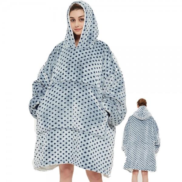 Oversized Blanket Sweatshirt Sherpa Hoodie for Adults Women & Men Gray Polka Dot
