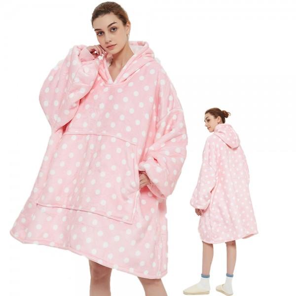 Oversized Blanket Sweatshirt Sherpa Hoodie for Adults Women & Men Pink Polka Dot