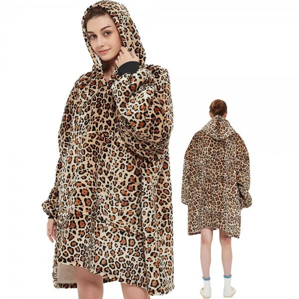 Blanket Hoodie Oversized Sweatshirt Sherpa Hoodie for Adults Women & Men Leopard