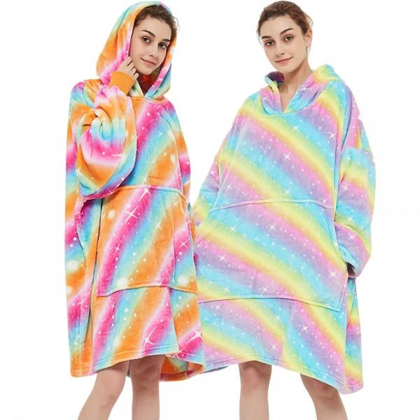 Rainbow Oversized Blanket Sweatshirt Sherpa Lounging Hoodie for Adults Women & Men