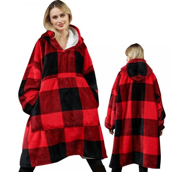 Blanket Hoodie Oversized Sweatshirt Sherpa Hoodie for Adults Women & Men Red Plaid