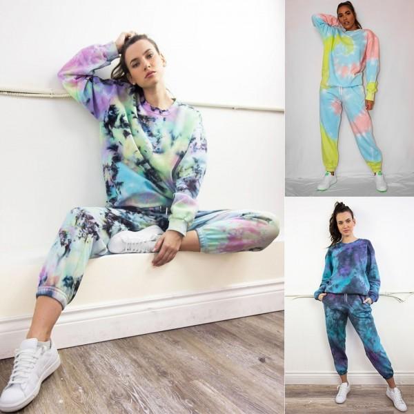 Women Tie Dye Hoodie Sweatshirt & Harem Pants