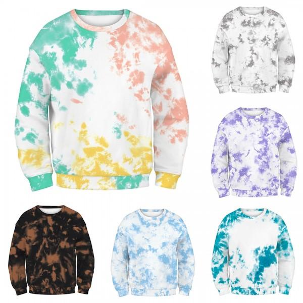 Women Tie Dye Colorful Hoodie Sweatshirt Long Sleeve Round Neck