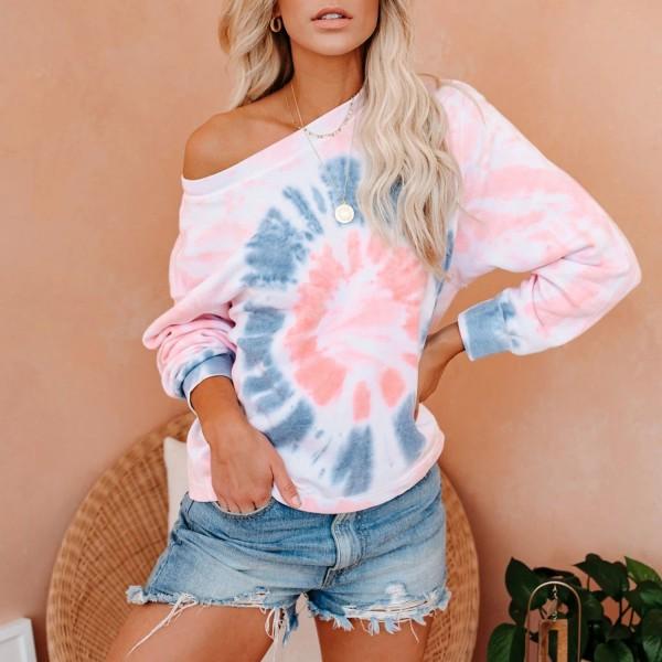 Women Tie Dye Pink Sweatshirt Long Sleeve Round Neck Hoodie