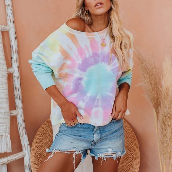 Women Tie Dye Colorful Rainbow Sweatshirt Long Sleeve Round Neck Hoodie