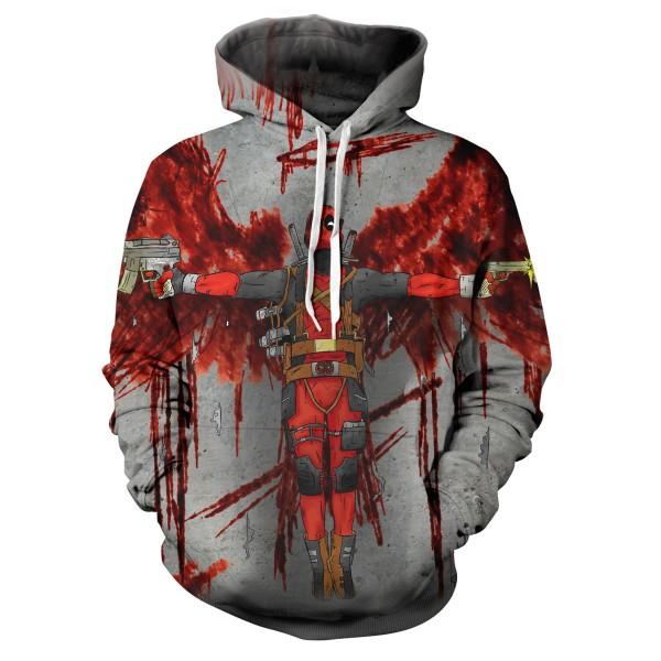 3D Design  Deadpool Movie Men's Hooded Sweatershirt